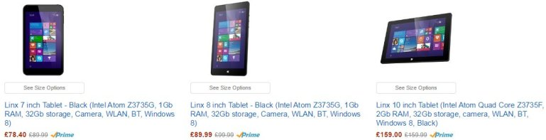 Linx tablets on Amazon UK